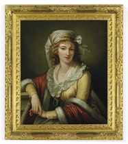 Portrait of the artist's wife Anna Maria Aloisna Rosa Ferri, daughter of Pietro Ferri, half-length, in a yellow dress with a red fur-lined cloak, with a white headdress and wearing a necklace with a pendant, leaning on a ledge