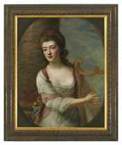 Portrait of a lady, three-quarter-length, in a white dress, playing a harp, standing by a column in a landscape