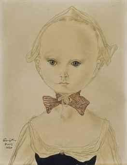 Portrait de jeune fille au noeud rayé