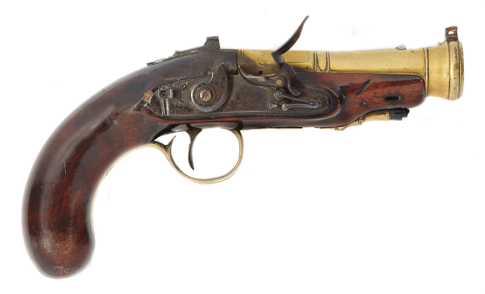 A BRASS-BARRELLED FLINTLOCK BLUNDERBUSS PISTOL | SIGNED ...