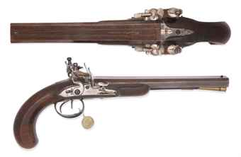 A PAIR OF 26-BORE DOUBLE-BARRELLED FLINTLOCK PISTOLS