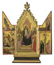 A triptych: central panel: The Madonna and Child enthroned with Saints; wings: The Nativity with the Angel of the Annunciation; and The Crucifixion with Virgin Annunciate