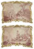 Chinoiserie scenes: Figures playing instruments in a landscape; and Figures fishing from a boat
