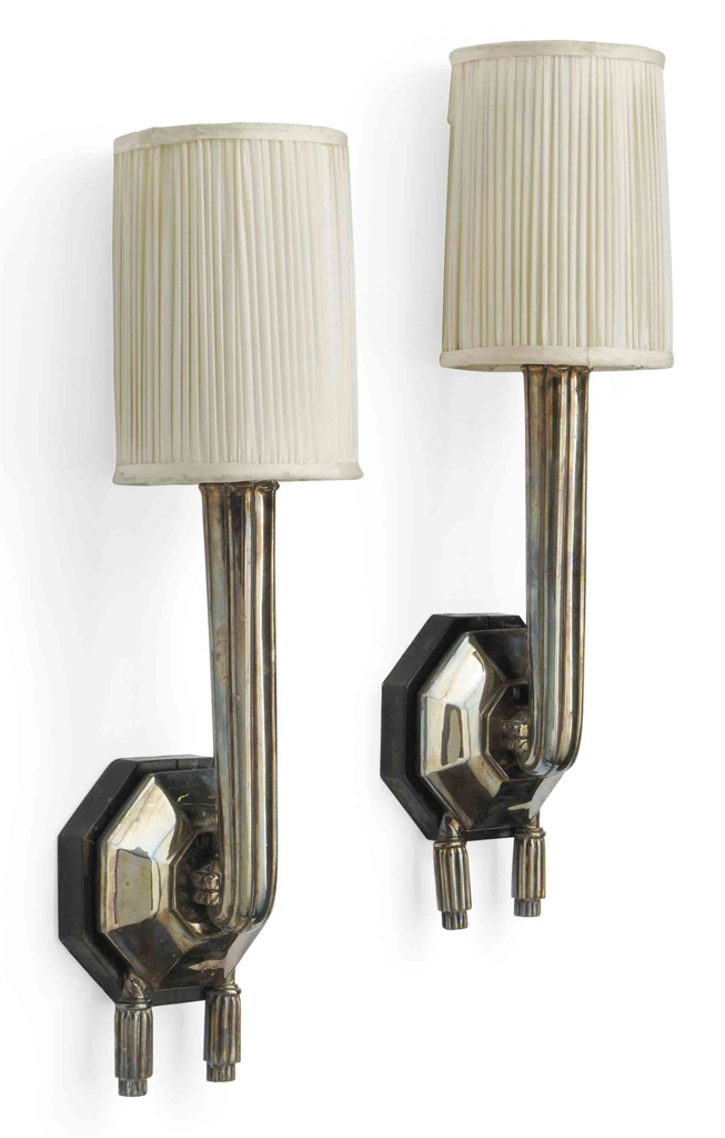 A PAIR OF ART DECO SILVER PLATED WALL SCONCES IN THE STYLE OF RUHLMANN CIRCA 1930 Interiors ...