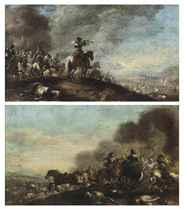 A cavalry troop on a hilltop, a fortified city beyond; and A cavalry skirmish