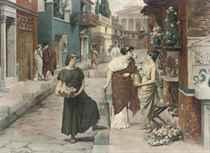 Selling flowers on a Roman street