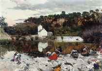 Washerwomen at a tranquil stretch of the river