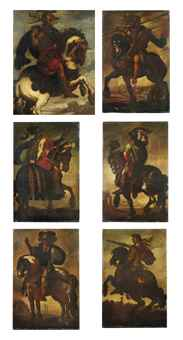 Six equestrian portraits of Roman Generals, full-length, each in armour with classical landscapes beyond: Marcus Aurelius Mausaeus Valerius Carausius; Alexander the Great; Tiberius Julius Caesar Augustus; Julius Ceaser; and two unidentified Roman Generals