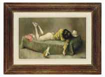 Reclining woman with cat