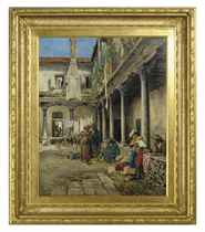 The Osteria: a couple flirting in a courtyard
