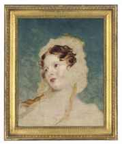 Portrait of a lady, bust-length, wearing a bonnet, unfinished