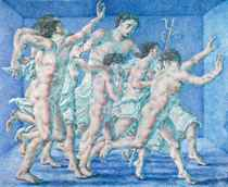 Figures in a blue room, diptych