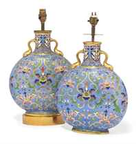 A PAIR OF COALPORT VASES MOUNTED AS LAMPS
