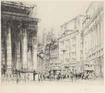 Views of London: Portland Place; Marsham St; The Royal Exchange; Fleet St; Berkeley Square; and Old St Pancras Town Hall