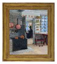 Interior kitchen scene with a woman reading the paper