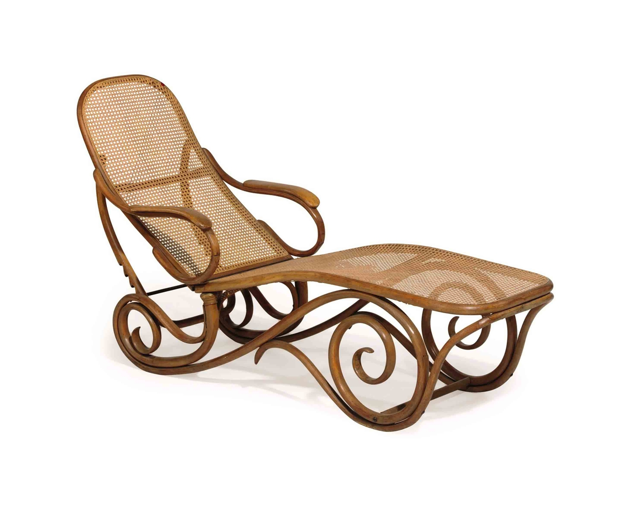 A thonet caned bentwood adjustable chaise lounge for Chaise bentwood
