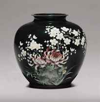A cloisonné-enamel and embossed-foil (ginbari) vase