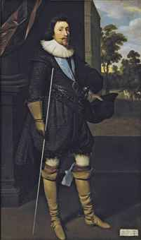 Portrait of James Hamilton, 2nd Marquis of Hamilton, K.G. (1589-1625), full-length, in black, holding his hat and the white staff of the Lord Steward of the Household, wearing the ribbon of the Garter, with a view across a terrace to a landscape with horses and riders