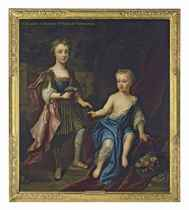 Double portrait of Lady Henrietta and Lady Mary Godolphin, daughters of Francis, 2nd Earl of Godolphin, full-length, the former standing in classical dress with a pink cloak, holding a parrot and a bunch of grapes, the latter seated in a white dress with blue cloak, in a garden, classical buildings beyond