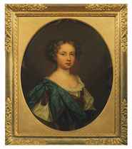 Portrait of a girl, bust-length, in a white chemise and blue mantle