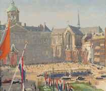 The inauguration of Queen Juliana, Dam square, Amsterdam