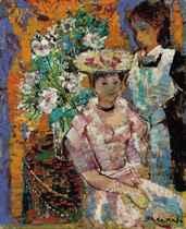 Femme assise et fleurs