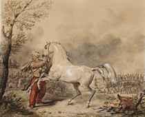 Oriental et son cheval, une armée à l'arrière-plan