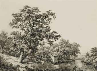 Chêne au matin ; Les houblons ; Chêne au paysage avec cabane ; Les bords du Loing