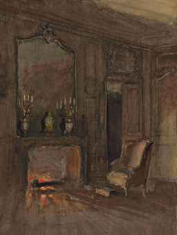 walter gay hingham 1856 1937 dammarie les lys feu de chemin e dans un salon old master. Black Bedroom Furniture Sets. Home Design Ideas