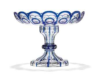 A RUSSIAN BLUE AND CLEAR GLASS TAZZA