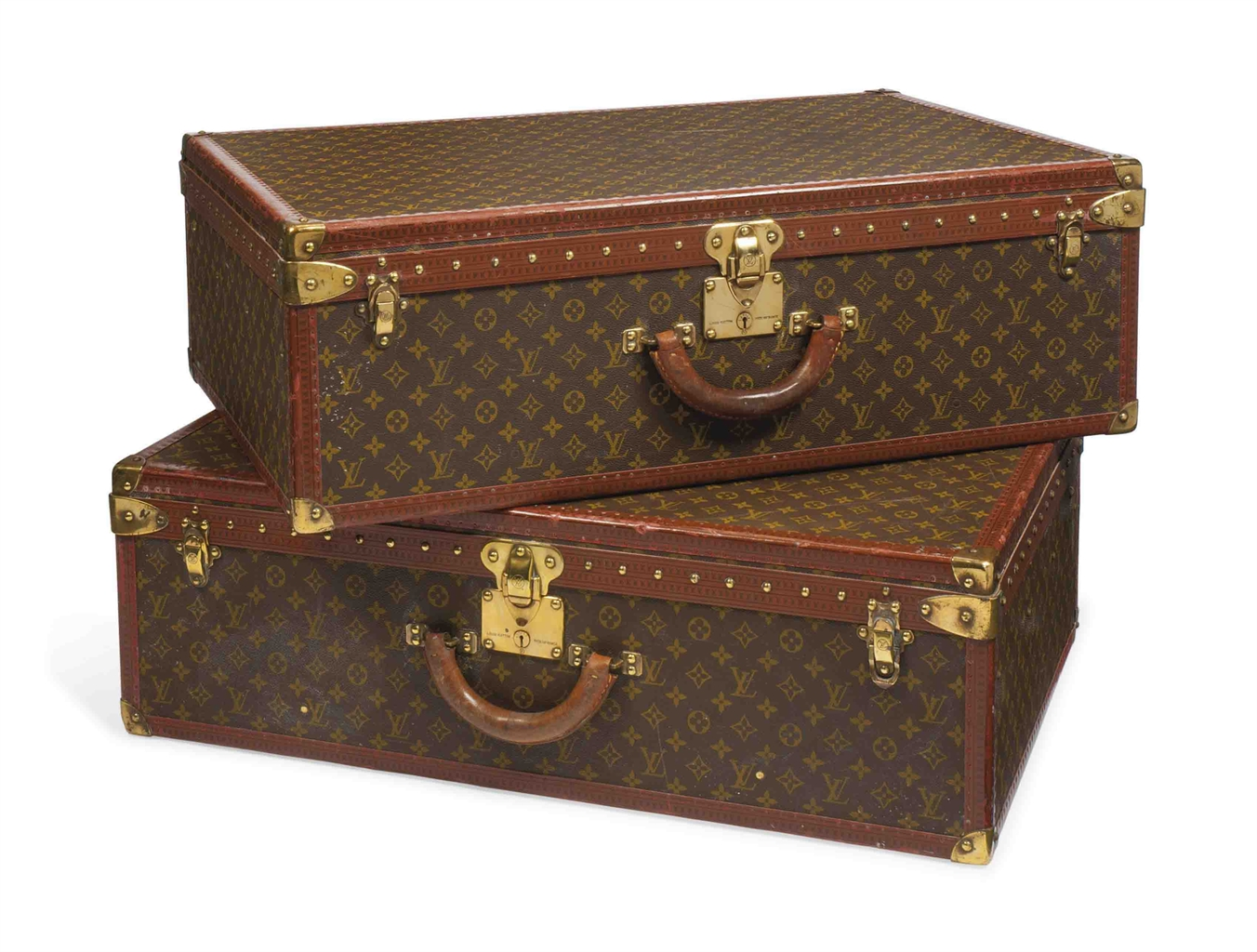 two alzer anglais suitcases in monogram canvas louis vuitton circa late 1960s early 1970s. Black Bedroom Furniture Sets. Home Design Ideas