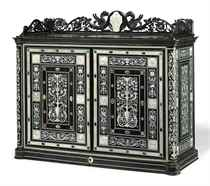 A NORTH ITALIAN IVORY-INLAID EBONY TABLE-CABINET