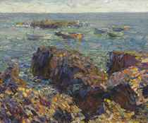 Rocky Shore with Moored Boats