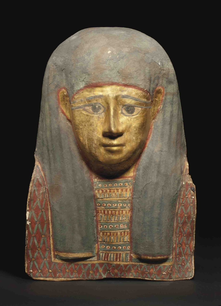 Estimate Car Payment >> AN EGYPTIAN POLYCHROME AND GILT CARTONNAGE MUMMY MASK | PTOLEMAIC PERIOD, CIRCA 2ND-1ST CENTURY ...