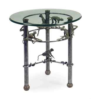 Metal and glass top low side tables late 20th century side table