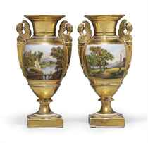 A PAIR OF PARIS PORCELAIN GOLD-GROUND VASES