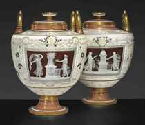 A PAIR OF MINTONS '1888 EXPOSITION' PATE-SUR-PATE CHOCOLATE-BROWN AND IVORY GROUND POMPEIIAN VASES AND COVERS