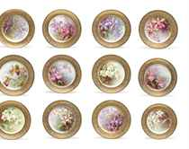 TWELVE LENOX PORCELAIN GOLD-GROUND MONOGRAMED BOTANICAL PLACE PLATES