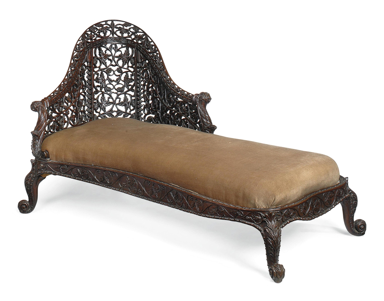 An indian carved 39 blackwood 39 chaise longue bombay for Carved chaise lounge