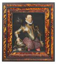 Portrait of a gentleman, three-quarter-length, in armour, his right hand resting on a helmet