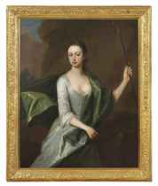 Portrait of a lady, three-quarter-length, in a grey dress with a blue wrap, holding a shepherd's crook