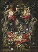 The Virgin and Child appearing before a Saint, in a sculpted cartouche, surrounded by a garland of roses, tulips, narcissi, carnations, morning glory and other flowers, with butterflies and a bee, on a ledge