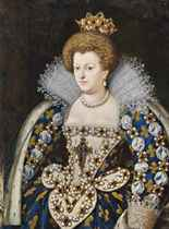 Portrait of Maria de Medici (1573-1642), Queen Consort of France, half-length, in a blue dress embroidered with gold fluer-de-lys and adorned with pearls