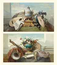 A lute, a tambourine, a panpipe, a clarinet, a drum, a score of music, and an urn on a plinth, on a draped ledge; and A violin, bagpipes, a drum, a score of music, and an ormolu-mounted vase with roses and other flowers on a draped ledge