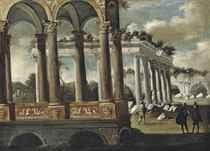 An architectural capriccio with elegant figures conversing