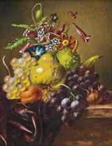A pear, grapes, a fig, an apricot, a horse-chestnut and summer flowers on a draped ledge