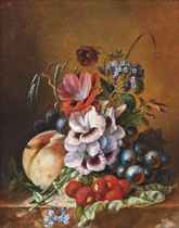 Still life with lychees, peaches, grapes and various Summer flowers on a ledge
