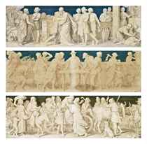 A set of three friezes depicting medieval scenes