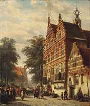 The city hall and market square of Naarden