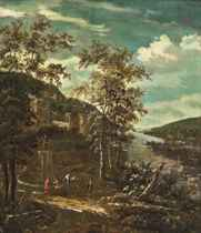 A wooded river landscape with figures and a horse at a fountain, a walled city beyond